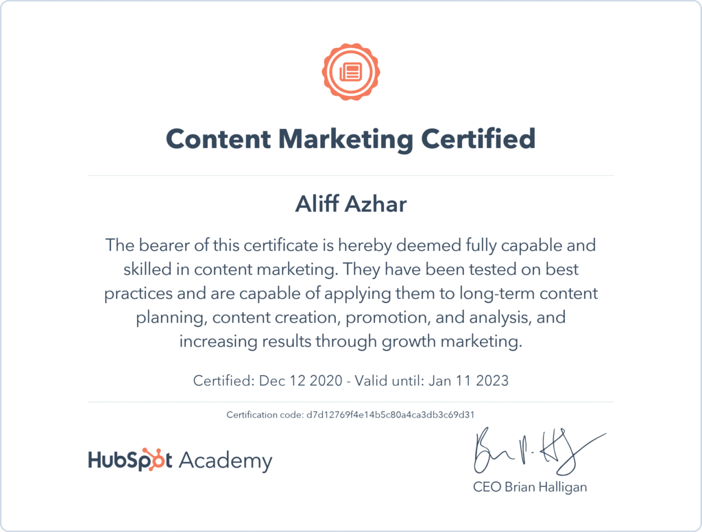 hubspot-content-marketing-certificate-alanmythoughts